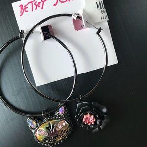 Betsey Johnson cat and rose hoop earrings.